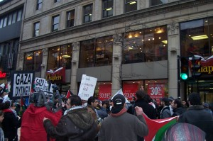 protestors march along St-Catherine