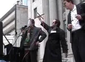 Stephen Harper puppet at anti-war march