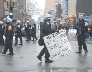 more riot cops wearing masks
