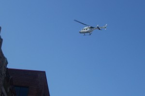Police chopper overhead
